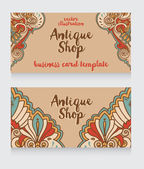 Business cards template for antique shop — Stock Vector