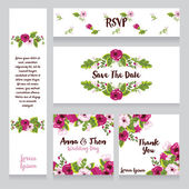 Collection of beautiful floral wedding cards — Διανυσματικό Αρχείο