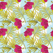 Seamless pattern with hibiscus flowers and palm leaves — Stock Vector