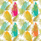 Seamless pattern with palm leaves and painting blurs — Stock Vector