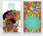 Cards for boho style with beautiful African American woman — Stock Vector