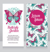 Butterflies garden business card — Stock Vector