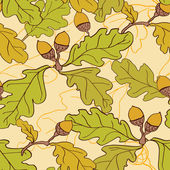 Seamless pattern with oak leaves and acorns — Stock Vector