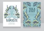 Cartões para o retiro de yoga ou estúdio de yoga com ornamento estampado e humanos em lótus asana — Vetor de Stock