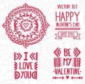 Set of decoration lettering elements for valentine day — Stock Vector