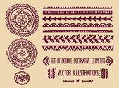 Set of doodle decoration elements — Stock Vector