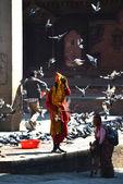 Holy sadhu man in Kathmandu, Nepal — Stock Photo