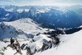 Dolomites mountains at winter, ski resort in Italy — Stock Photo