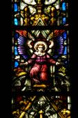 Stained glass window detail in Cluj Napoca. Saint Michael church — Stock Photo