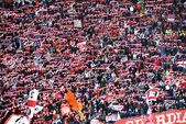 Romanian football fans in a stadium — Stock Photo