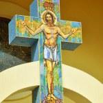 Jesus on cross, mosaic in a Greek Catholic church  — Stock Photo #64239807