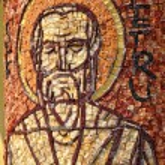 Mosaic of Saint Peter apostle on a column  — Stock Photo #64240001