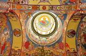 Orthodox church interior with painted murals — 图库照片