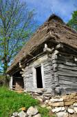 Traditional Romanian wooden barn with thatched roof — Stock Photo