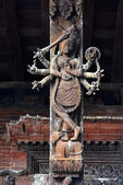 Wooden carvings on a Hindu temple in Kathmandu, Nepal. Now destr — Stock Photo