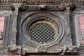 Carved wooden window details on the Royal Palace of Kathmandu, n — Stock Photo