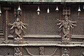 Wooden carvings on a Hindu temple in Kathmandu, Nepal. Now destr — Stock Photo