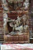 Erotic carvings on a Hindu temple in Kathmandu, Nepal. Now destr — Stock Photo