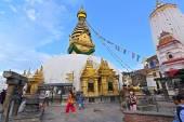 Buddhist stupa of Swayambhunath, Kathmandu remained intact after — Stock Photo