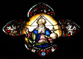 Stained glass window detail with Biblical scene — Stock Photo