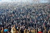 Crowd of blurred people — Stock Photo