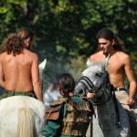 Постер, плакат: Equestrian demonstration in traditional costumes