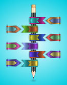 Colorful web ribbons with pencil  — Stock Vector
