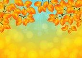 Golden leaves background  — Stock Vector