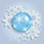 Christmas ball with snowflakes  — Stock Vector