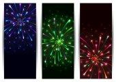 Colorful firework banners — Stok Vektör