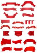 Red ribbons collection  — Stock Vector