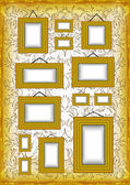 Golden frames on ornamental background — Stock Vector