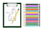 Clipboard with donkey sketch and pencils — Stock Vector