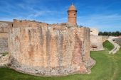 Moat and ramparts of Salses-le-Chateau — Stock Photo