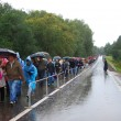 Постер, плакат: People crowds walk under the umbrellas on the wet road