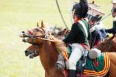 Reenactors verkleed als soldaten van de Napoleontische oorlog rijden paarden — Stockfoto