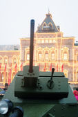 Vintage military equipment shown on the Red Square in Moscow — Stock Photo