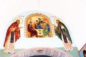 Old religious icon in Trinity Sergius Lavra, Sergiev Posad, Russia. UNESCO World Herit — Stockfoto