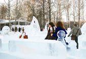 Winter in Sokolniki park, Moscow, Russia — Stock Photo