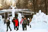 Winter in Sokolniki park, Moscow, Russia — Stock Photo