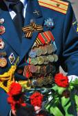 A set of military awards on a jacket. Victory Day celebration in Moscow. — Stockfoto