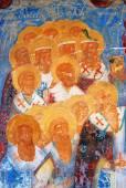 Gamla religiösa målning. Kyrkan av Saint Nicolas i Yaroslavl, Ru — Stockfoto