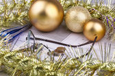 Business Christmas of balls, coin, tinsel, eyeglasses — Zdjęcie stockowe