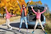 Car trip on autumn family vacation — Stock Photo