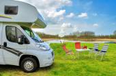 RV (camper) in camping, family vacation travel, trip in motorhome — Стоковое фото