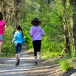 Family sport, happy active mother and kids jogging outdoors, running in forest — Stockfoto #75103761
