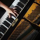 钢琴特写钢琴家手打 — 图库照片