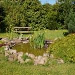 Beautiful classical garden fish pond gardening background — Stock Photo #75453803