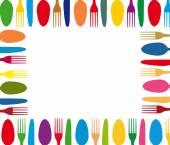 Cutlery color background menu — Stock Vector