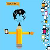 Pencil infographic design — Stock Vector